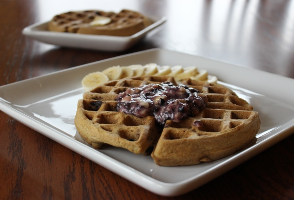 "Blueberry Coconut Flour Waffles with Blueberry Banana ""Fluff"" by PamperedPaleo"