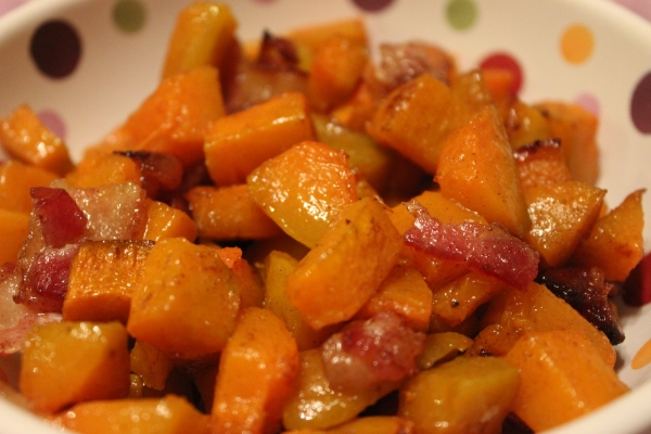 Maple Bacon Roasted Butternut Squash by PamperedPaleo