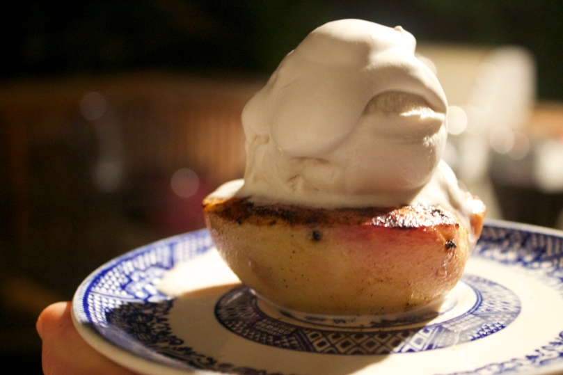 Grilled Peaches with 4 Ingredient Vanilla Ice Cream