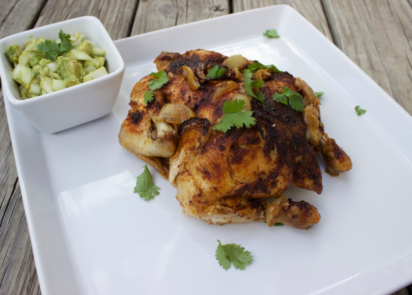 Fiesta Roasted Chicken with Avocado Salsa by PamperedPaleo